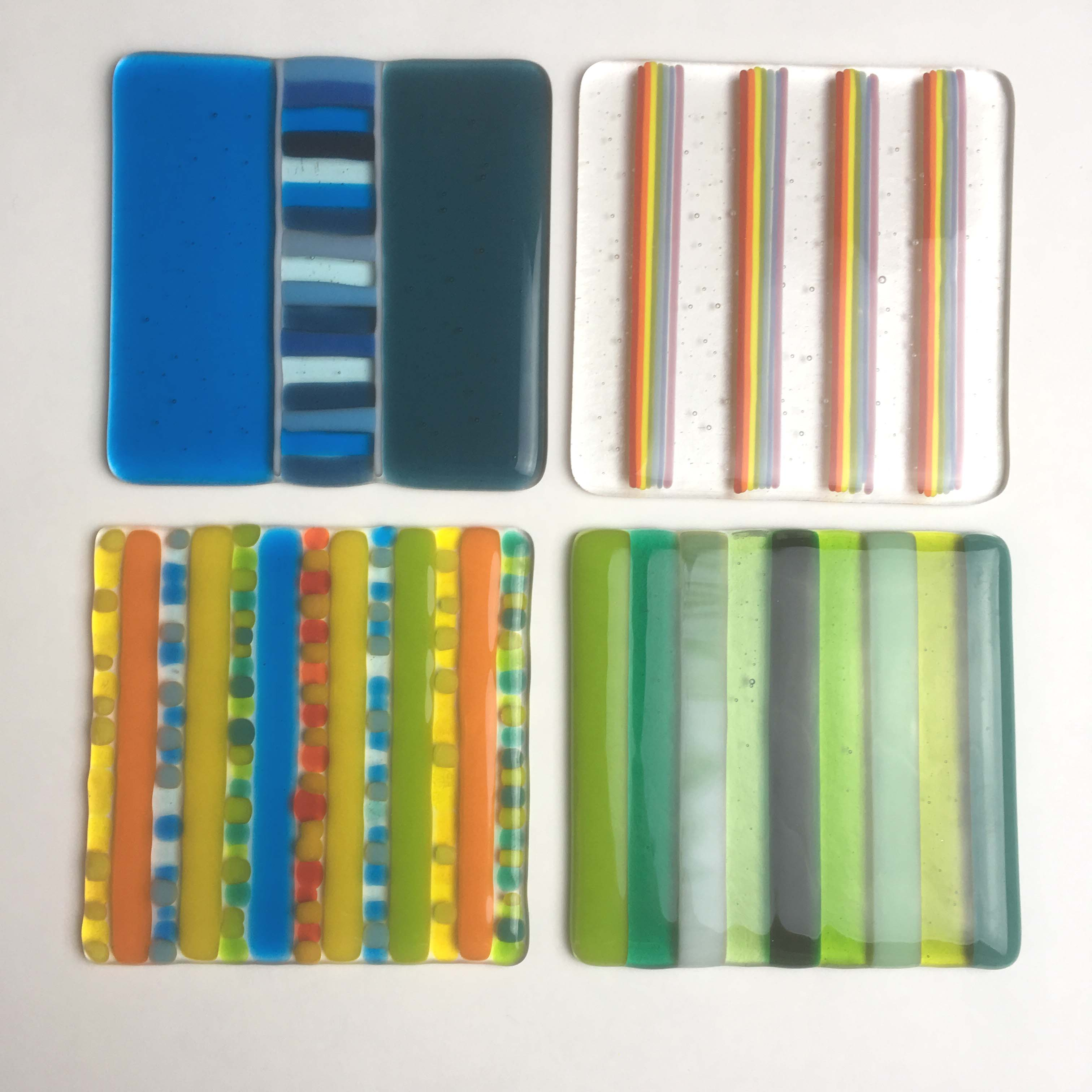 Striped Fused Glass Coasters Hazelrock House